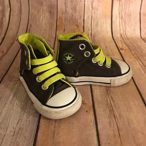 Converse army green neon green high top shoes